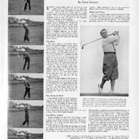1933-Sarazen analyses the swing of Cheshire's John Woollam, winner of the 1933 English Amateur Championship