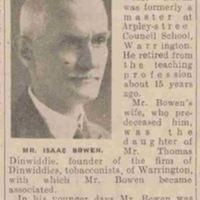 1939-Death of Isaac Bowen